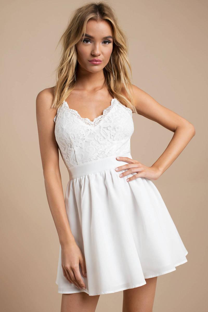 White Skater Dress - Backless Dress - Ivory Cami Dress - $39 | Tobi US