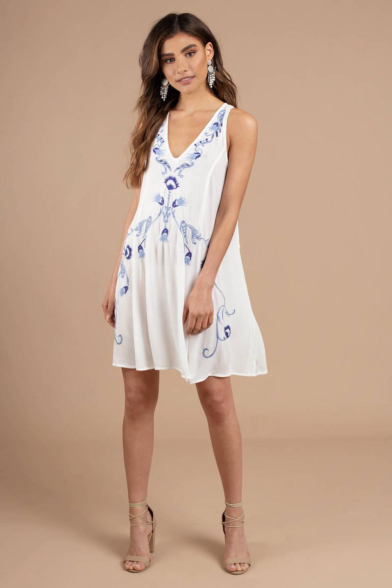 9c6ca6cf0386 White Free People Shift Dress - Porcelain Dress - White Flowy Dress ...