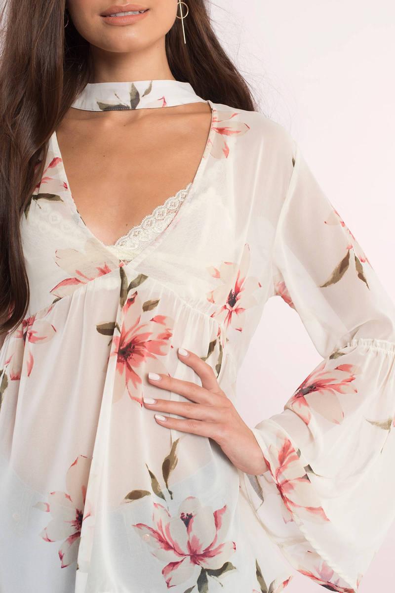 Alexia Ivory Multi Floral Print Choker Blouse