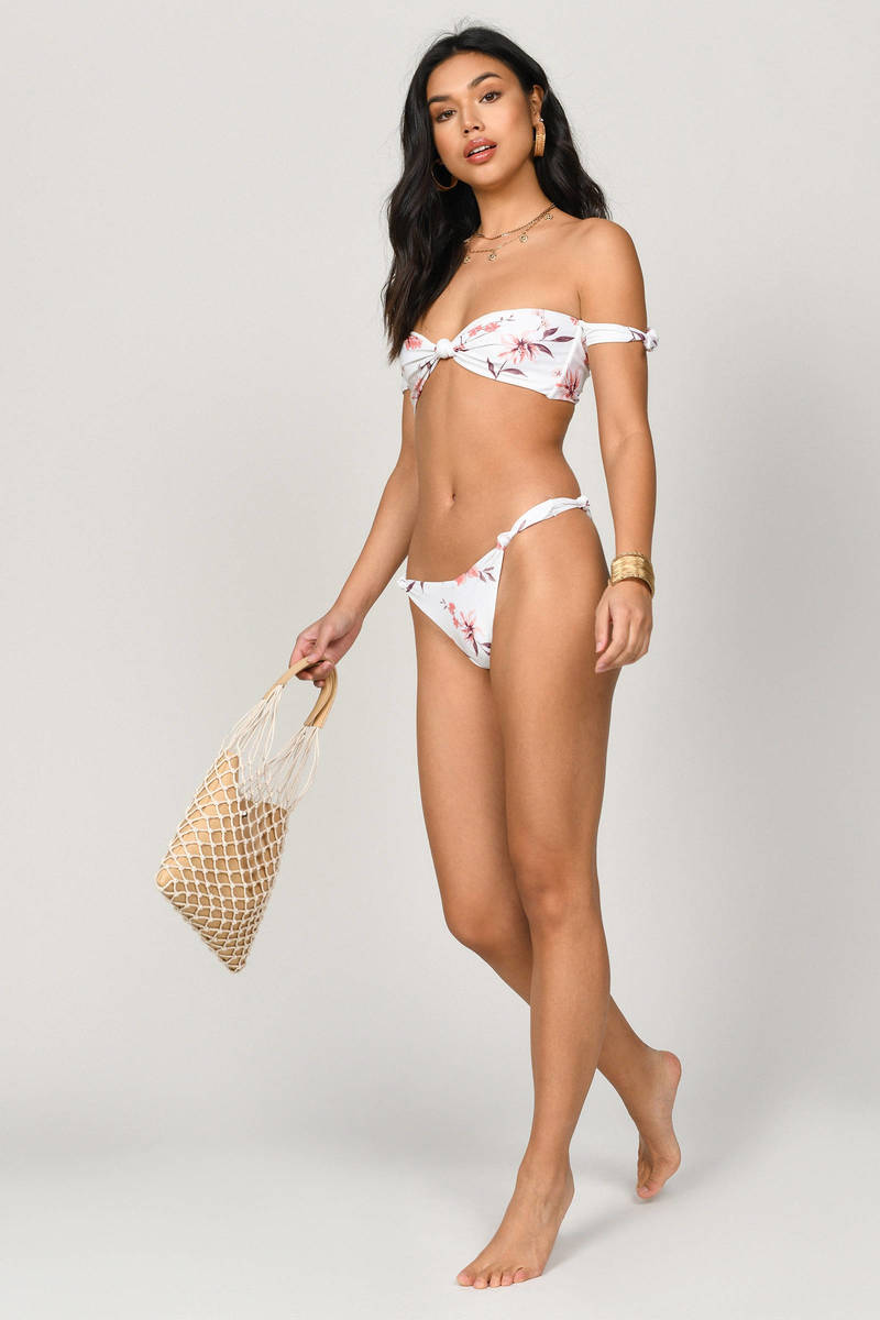 cff1aa2eca6 Audrina High Waisted White Floral Bikini Bottom - $8 | Tobi US