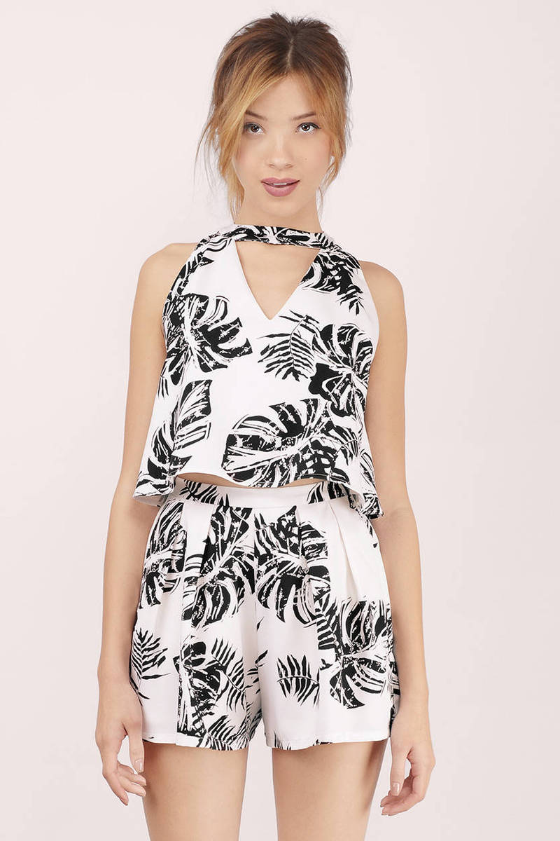 Bombshell Ivory Multi Palm Print Crepe Swing Top