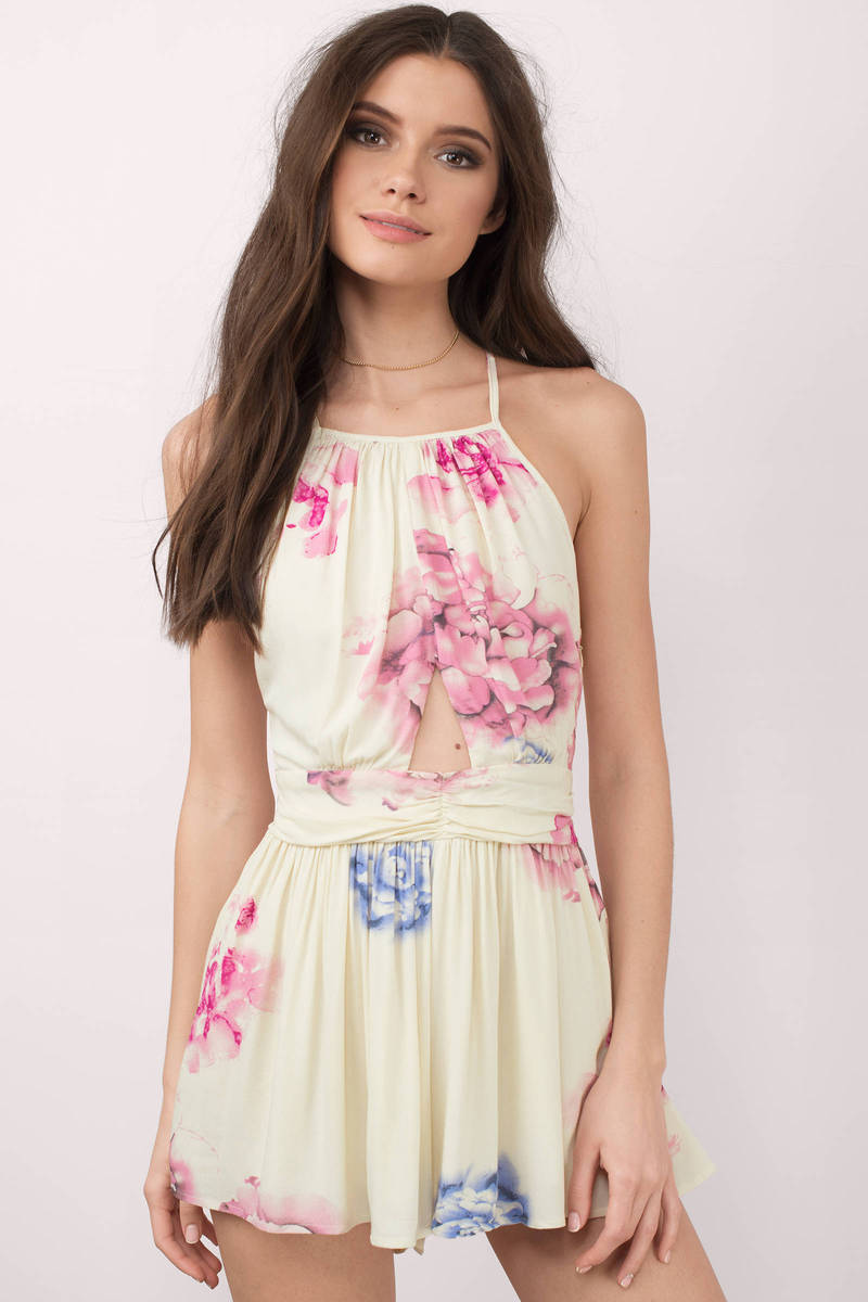 Camila Ivory Multi Floral Print Romper