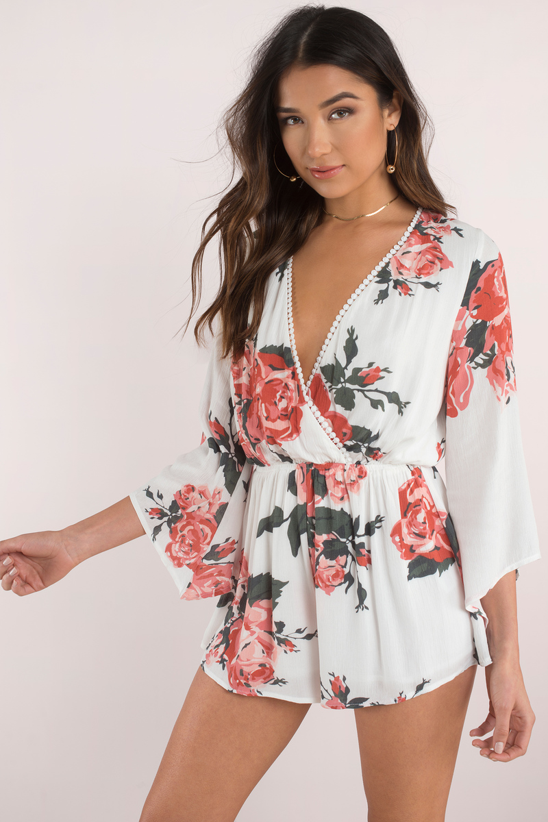 Can't Let Go Ivory Multi Rose Print Romper