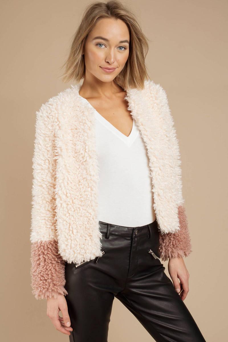 919c664768 Cream Honey Punch Jacket - Shaggy Faux Fur Coat - Cream Shearling ...