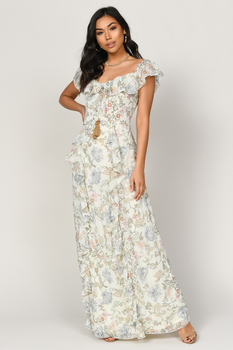 5ec770cedb19 White Maxi Dress - Elegant Maxi Dress - White Off Shoulder Maxi ...