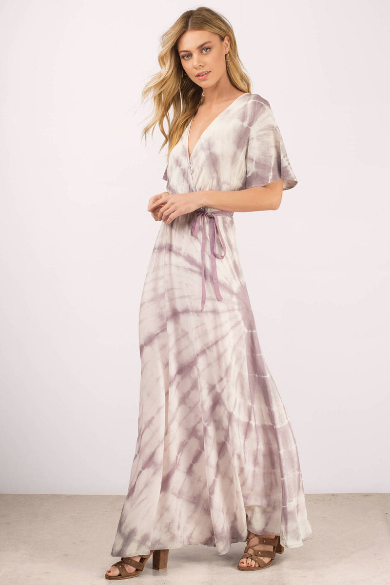Boho Purple Maxi Dress Wrap Tie Maxi Dress Purple Tie Dye Maxi