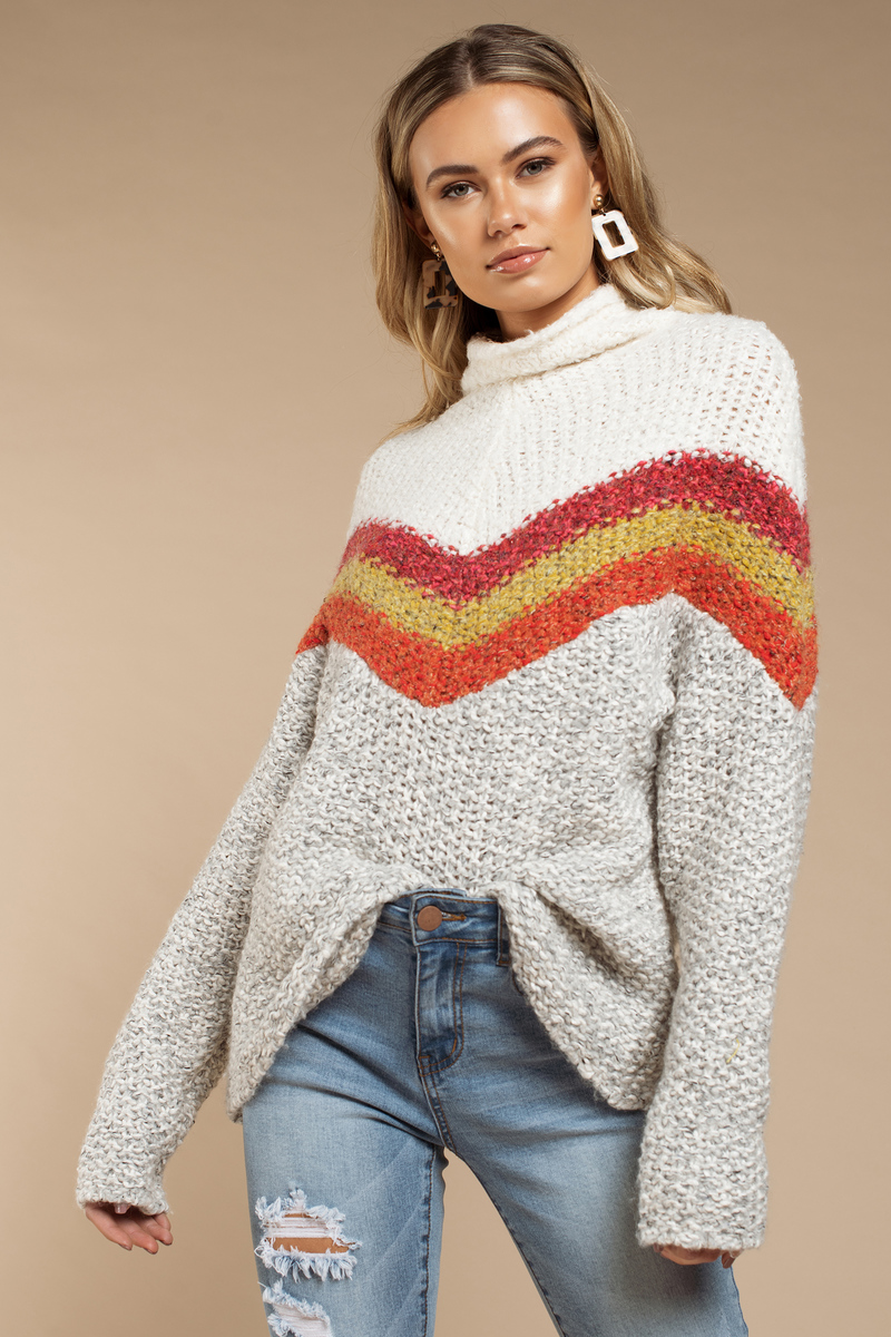 00895694d1f White Free People Sweater - Chevron Mock Neck Sweater - White Tunic ...