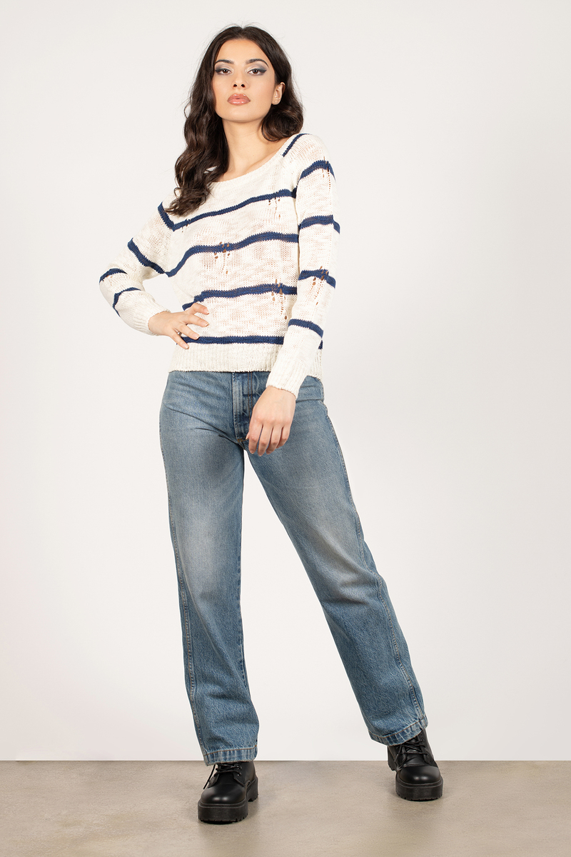 College Ruled Navy & Ivory Striped Knit Sweater