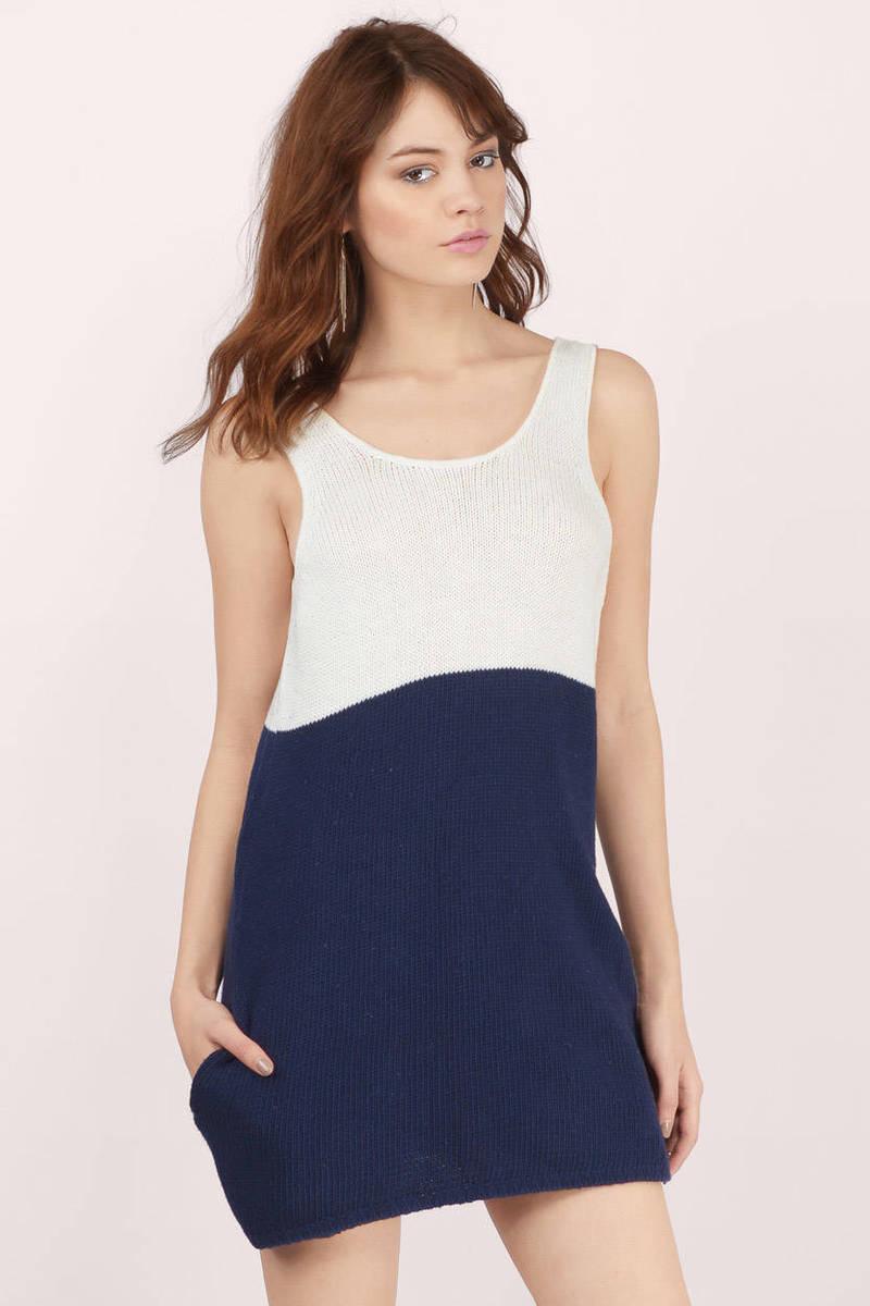 Sweet Nicolette Ivory & Navy Sweater Dress