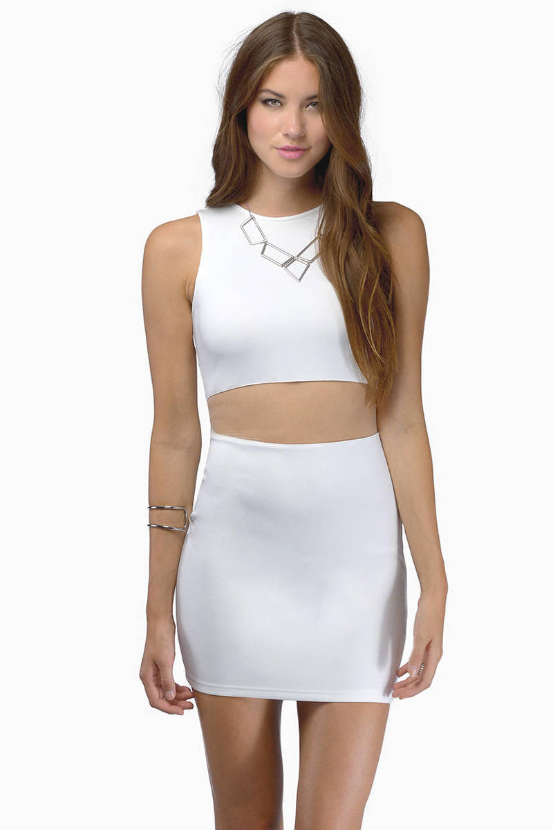 No Strings Attached Ivory Mesh Bodycon Dress