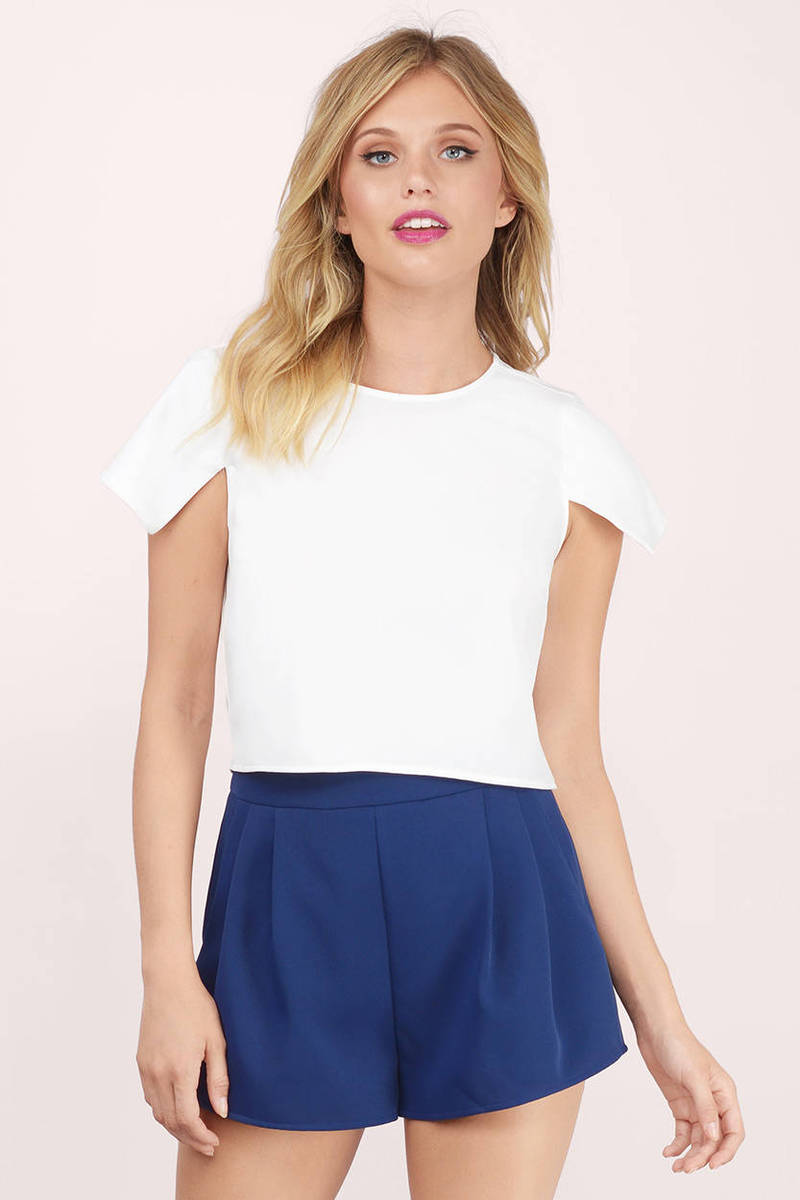 Not Like You Ivory Crepe Gauze Crop Top