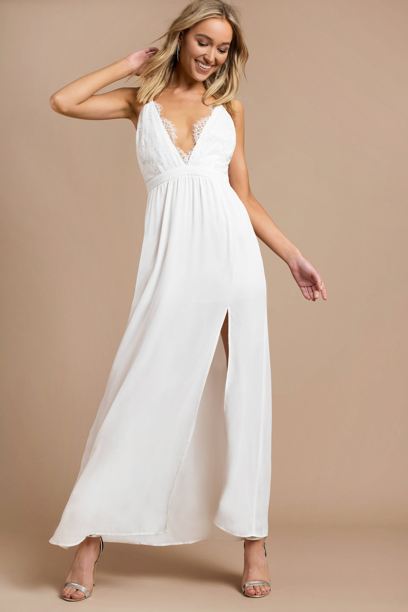 53ffe0bac69 White Maxi Dress - Lace Trim Dress - Plunging White Maxi Dress -  21 ...