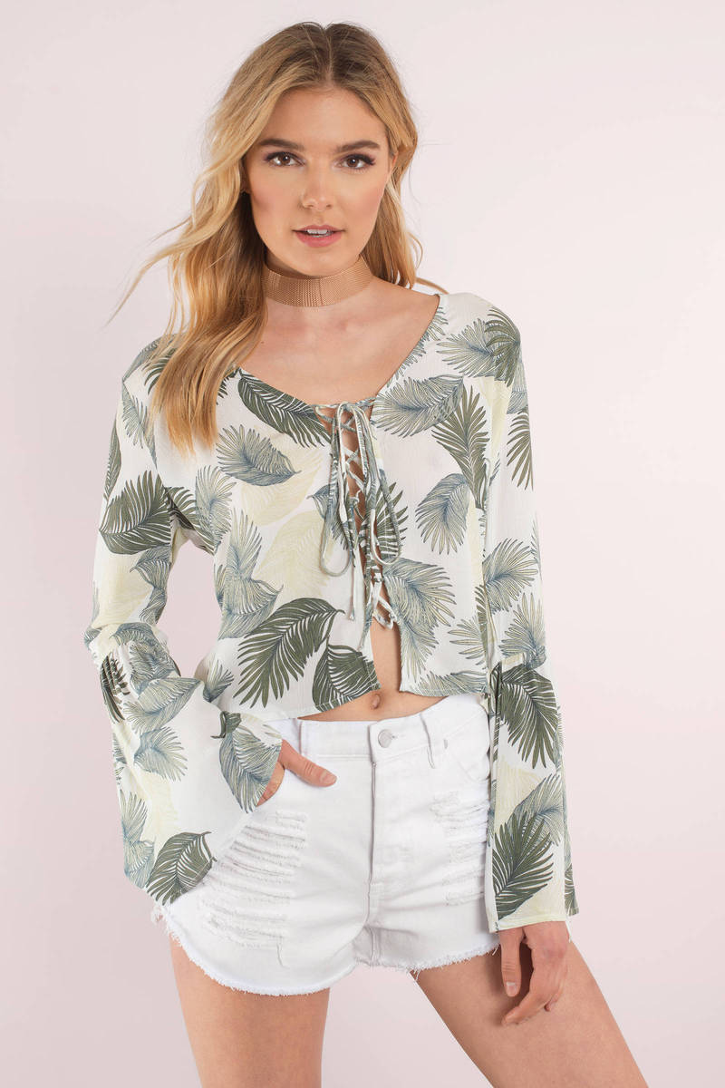 Palm Down Ivory Lace Up Top