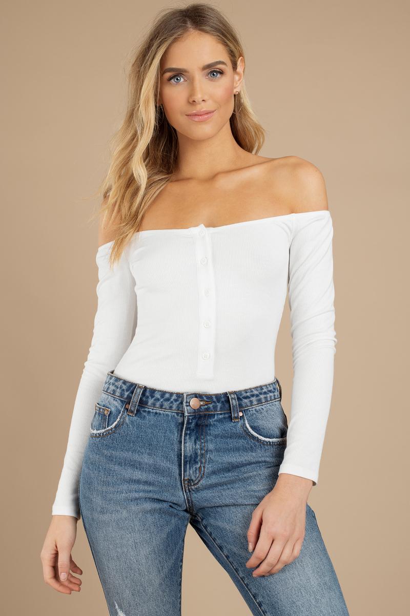 d2a89408e2b8 White Bodysuit - Button Bodysuit - White Bardot Bodysuit - $17 | Tobi US