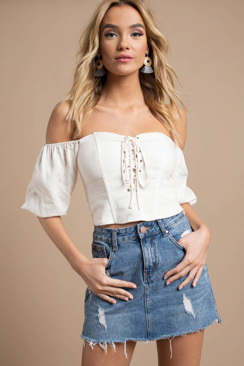 65e9edb41e428 Trendy Astr Crop Top - Lace Up Crop Top - White Off Shoulder Top ...