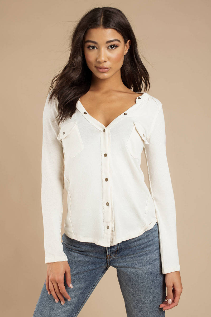 2fc6894d White Free People Blouse - Button Up Top - White Henley Top - $68 ...