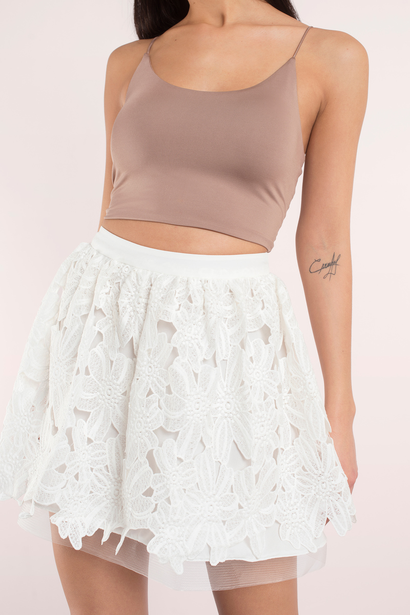 Sunbeam Light Blue Lace Skater Skirt