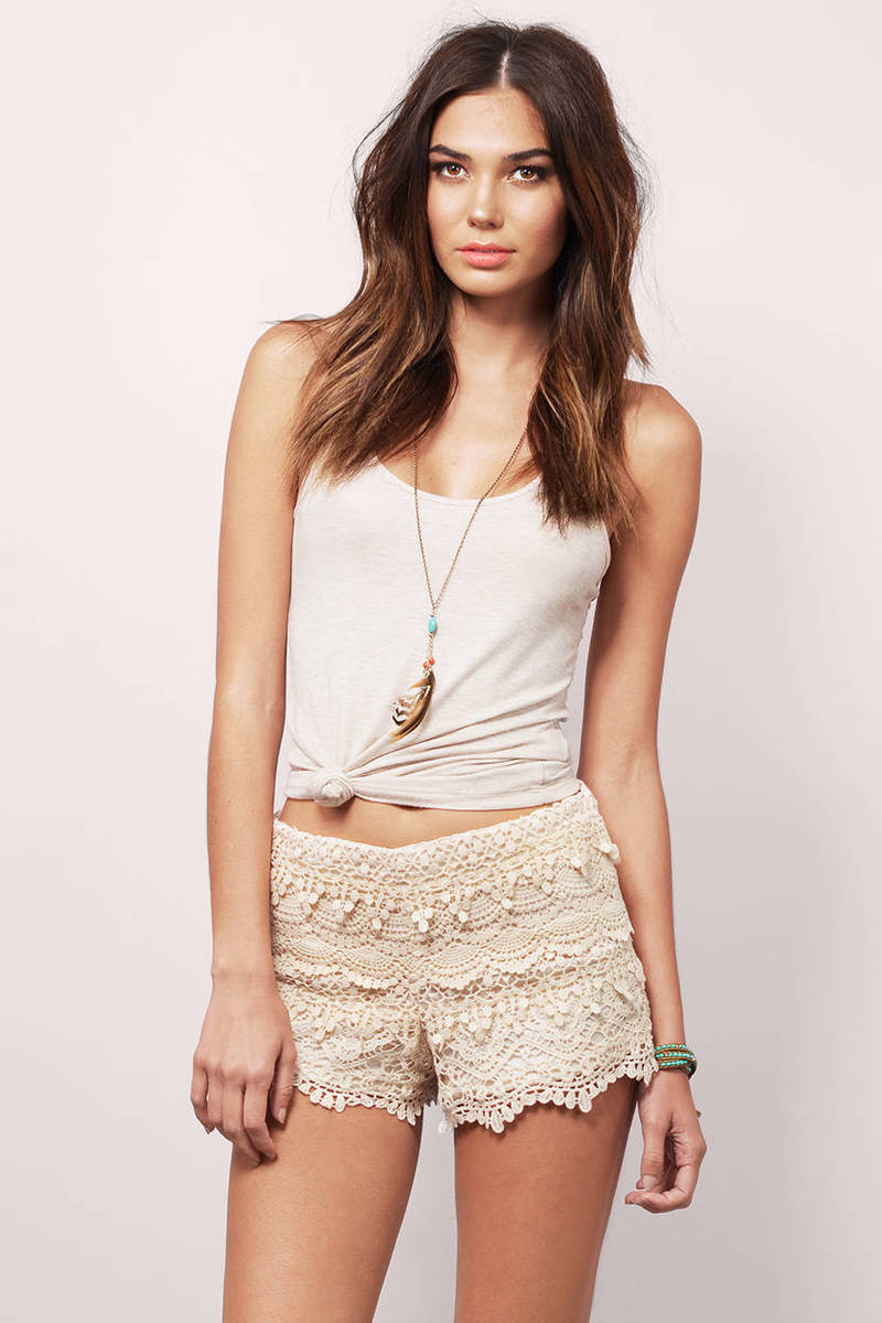 Sunrise And Set Ivory Crochet Scalloped Shorts