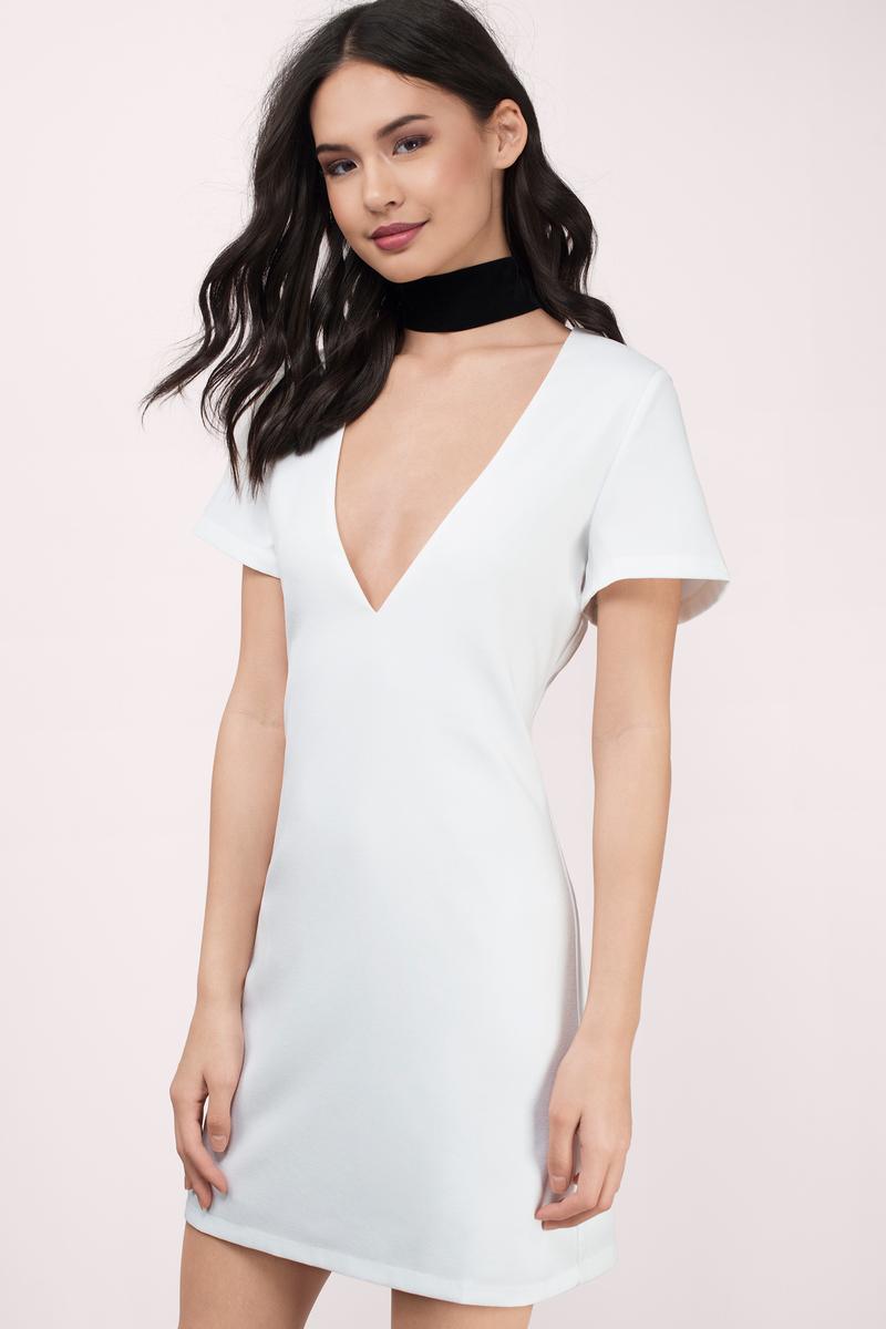 a1622525625 Ivory Bodycon Dress - White Dress - Deep V Dress - Bodycon Dress ...