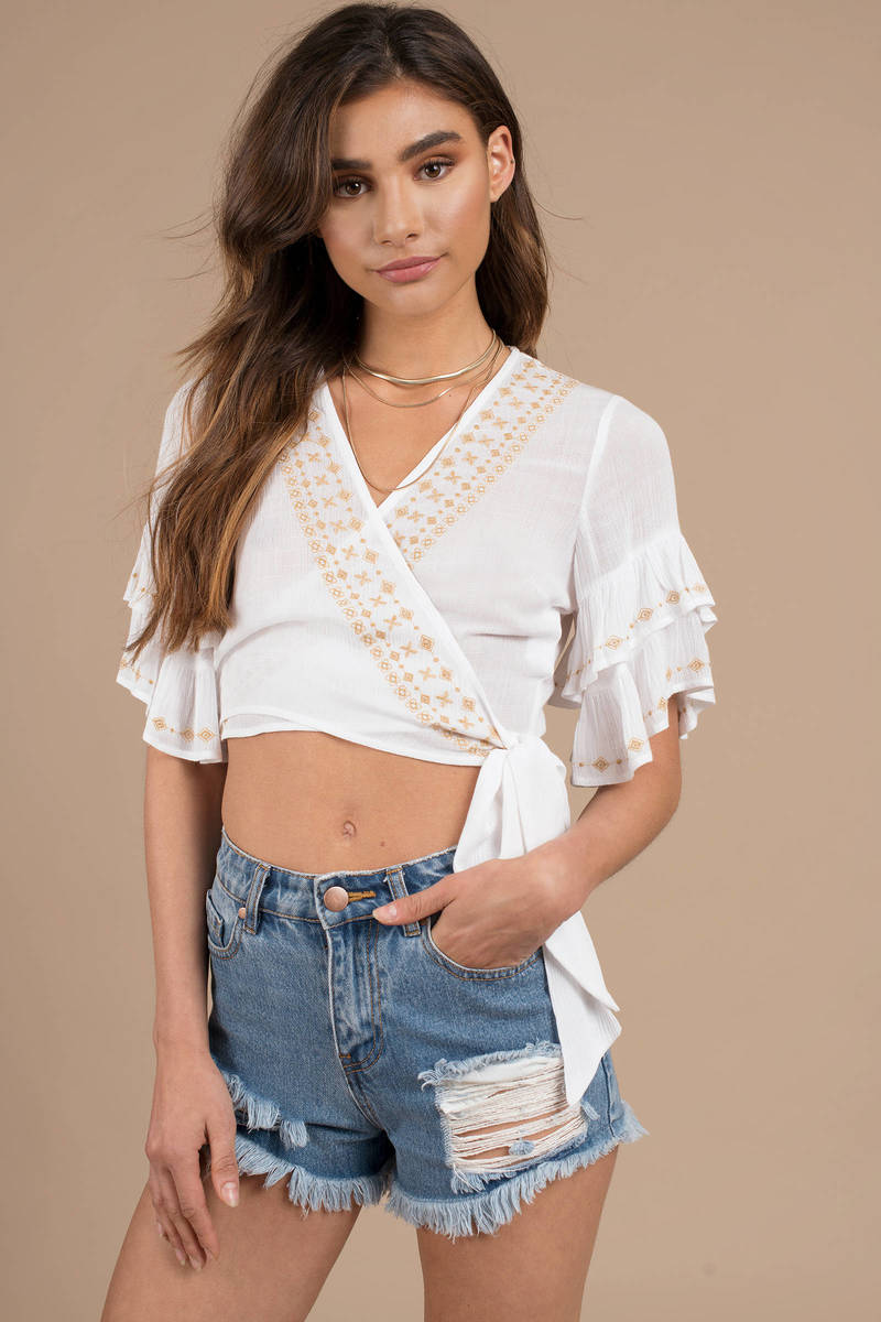11329ac720176 White Crop Top - Ruffled Wrap Top - White Side Tie Top - S  38