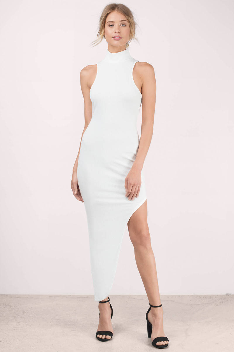 Ivory Maxi Dress - Ivory Dress - Turtleneck Dress - Mock Neck Maxi ...