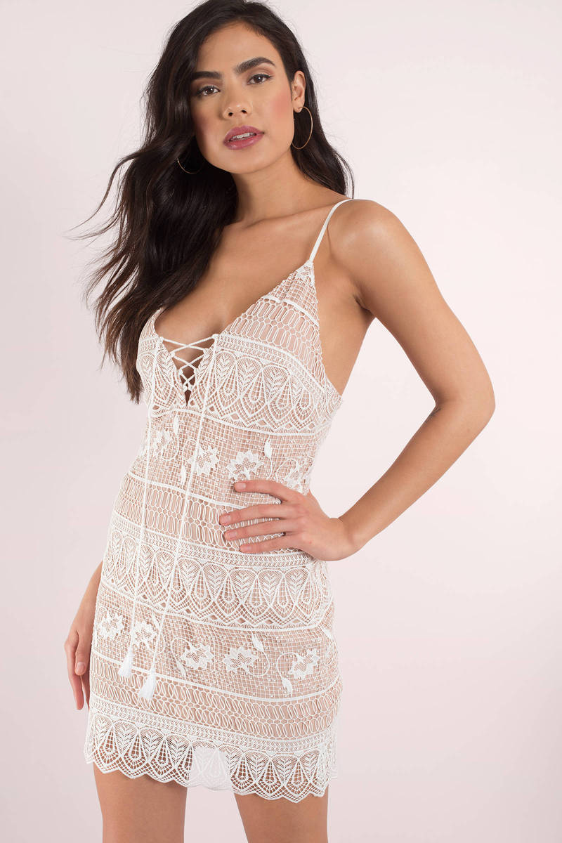 The Jetset Diaries The Jetset Diaries Lupita Ivory Lace Bodycon Dress