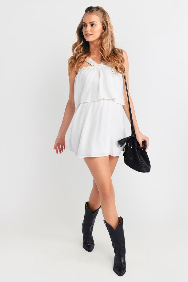 Top Half Ivory Skater Dress