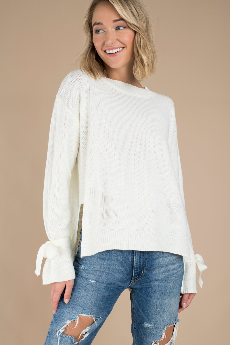 9047b77f7473a5 Cute White Sweater - Open Back Sweater - White Bows Sweater - $23 ...