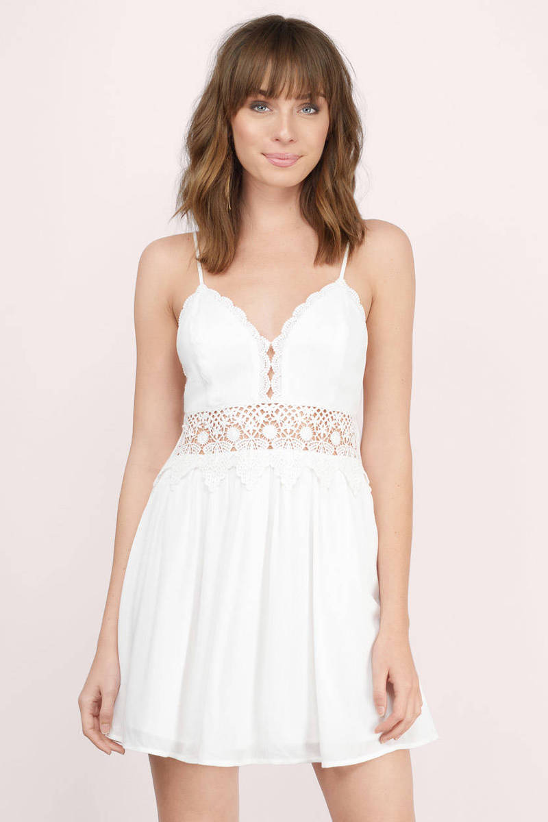 Totally Crushed Ivory Crochet Skater Dress
