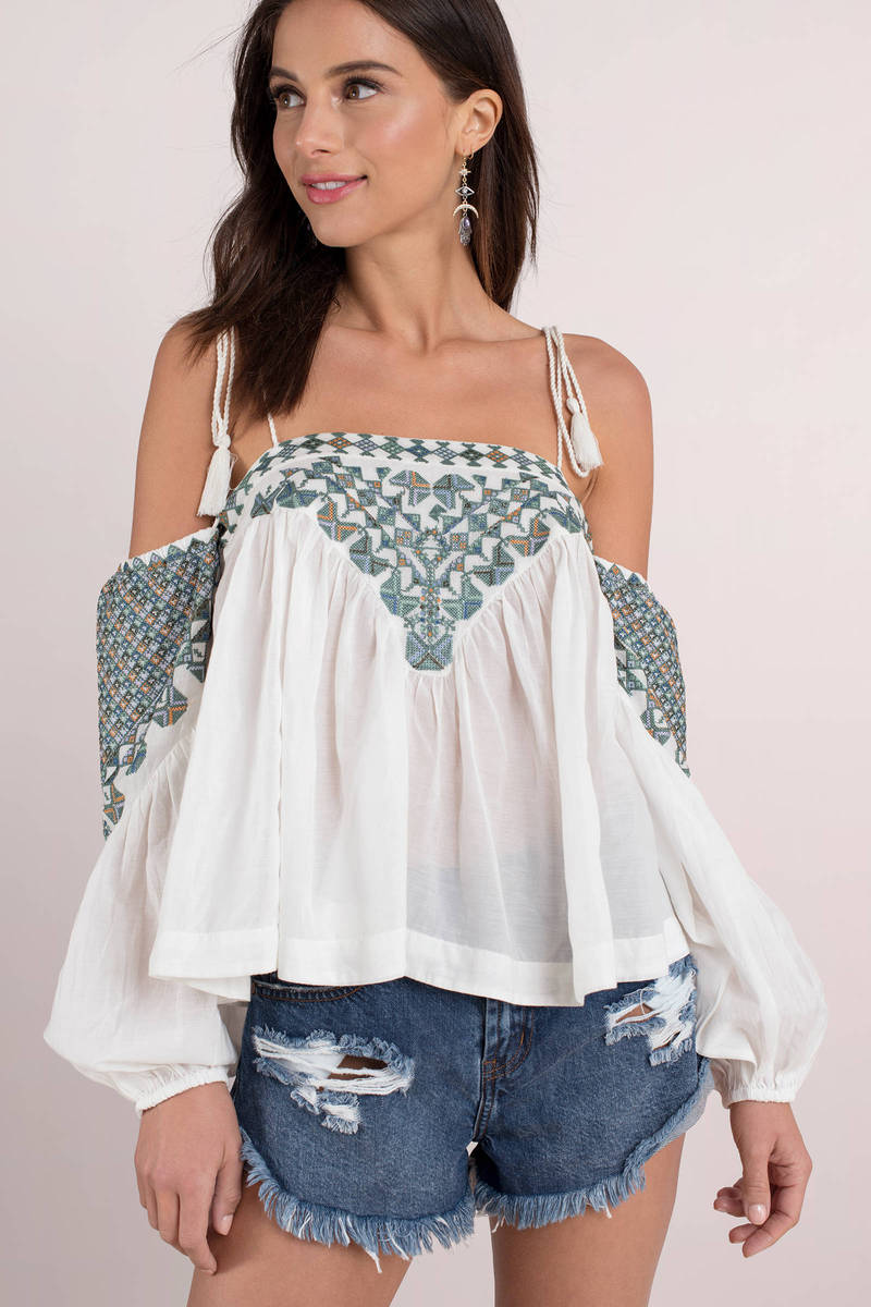 fbafa4dfaed970 White Blouse - Spaghetti Strap Bodysuit - White Printed Top - AU ...