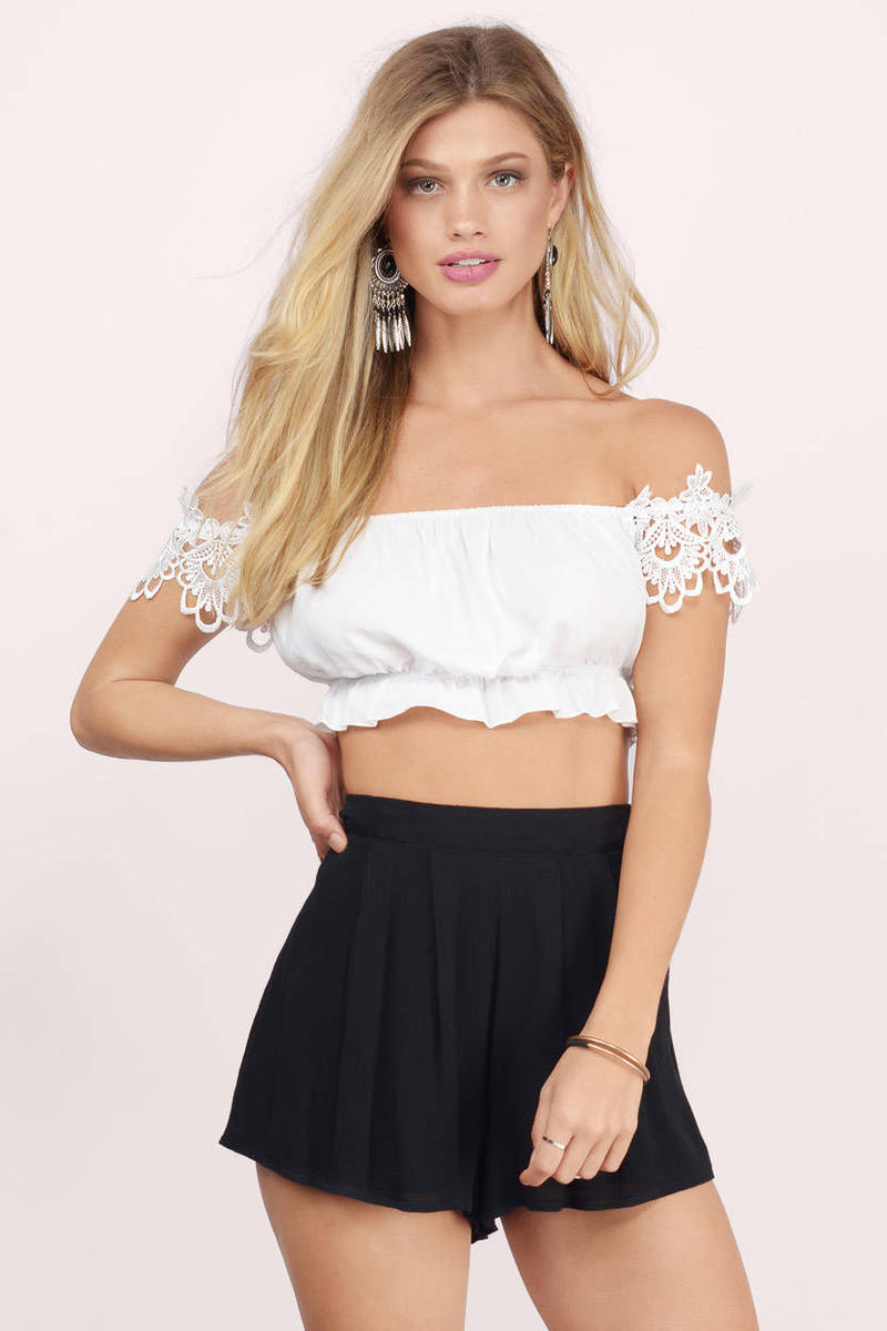 3393e052c5e49c White Crop Top - Off Shoulder Top - White Top - Ivory Crop Top -  4 ...