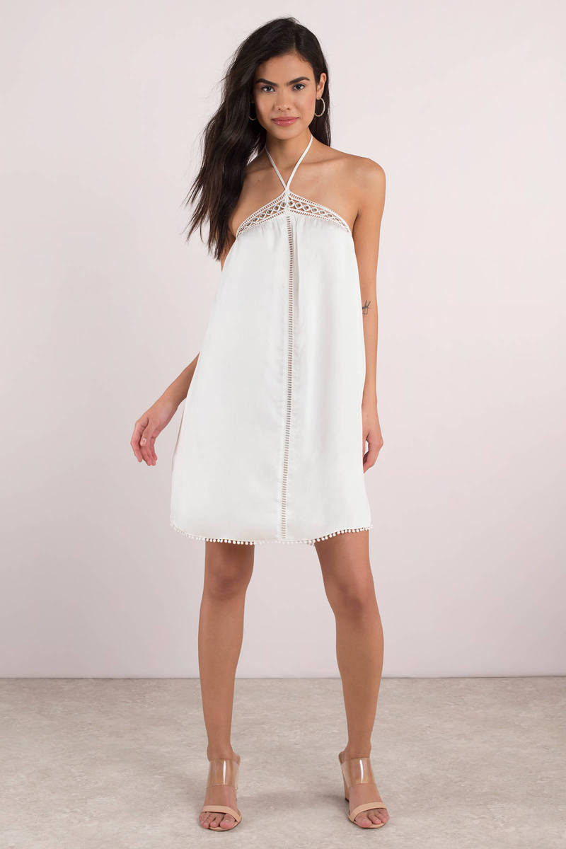 The Jetset Diaries Wildwood Ivory Halter Mini Dress