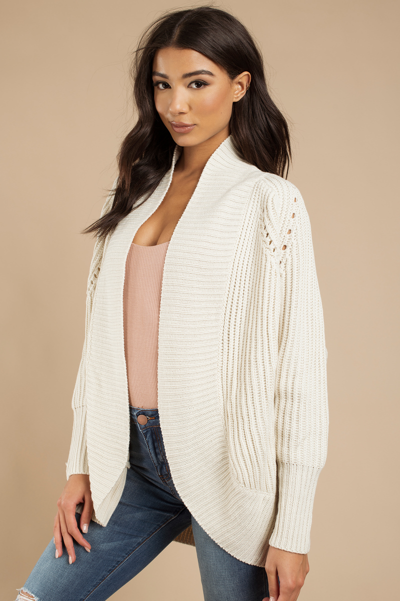 Cute Ivory Cardigan - Draped Cardigan