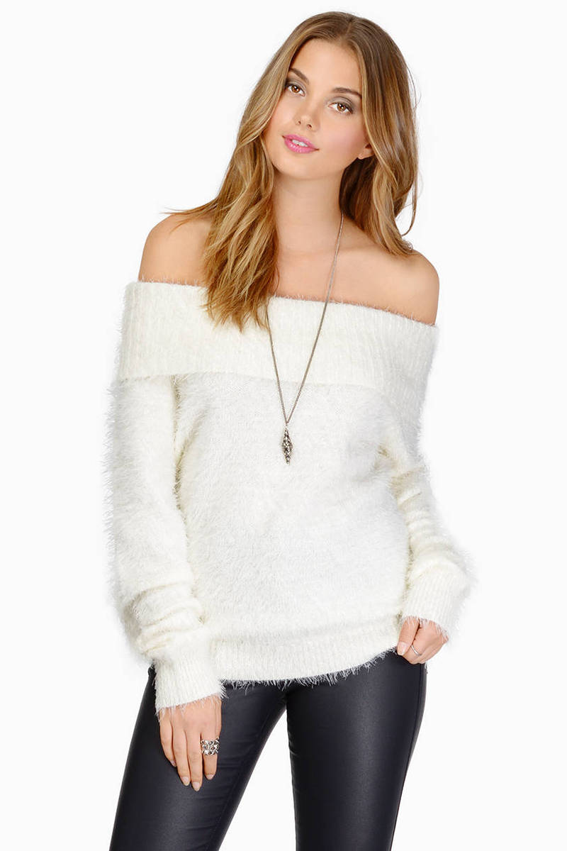 Ivory Sweater - Off Shoulder Sweater - Fuzzy Top - $19 | Tobi US
