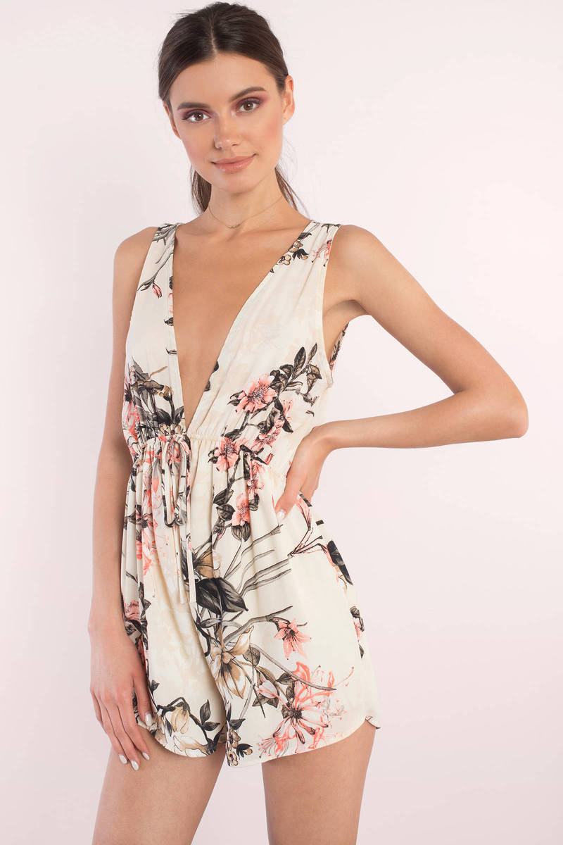 Zoey Ivory Floral Print Romper