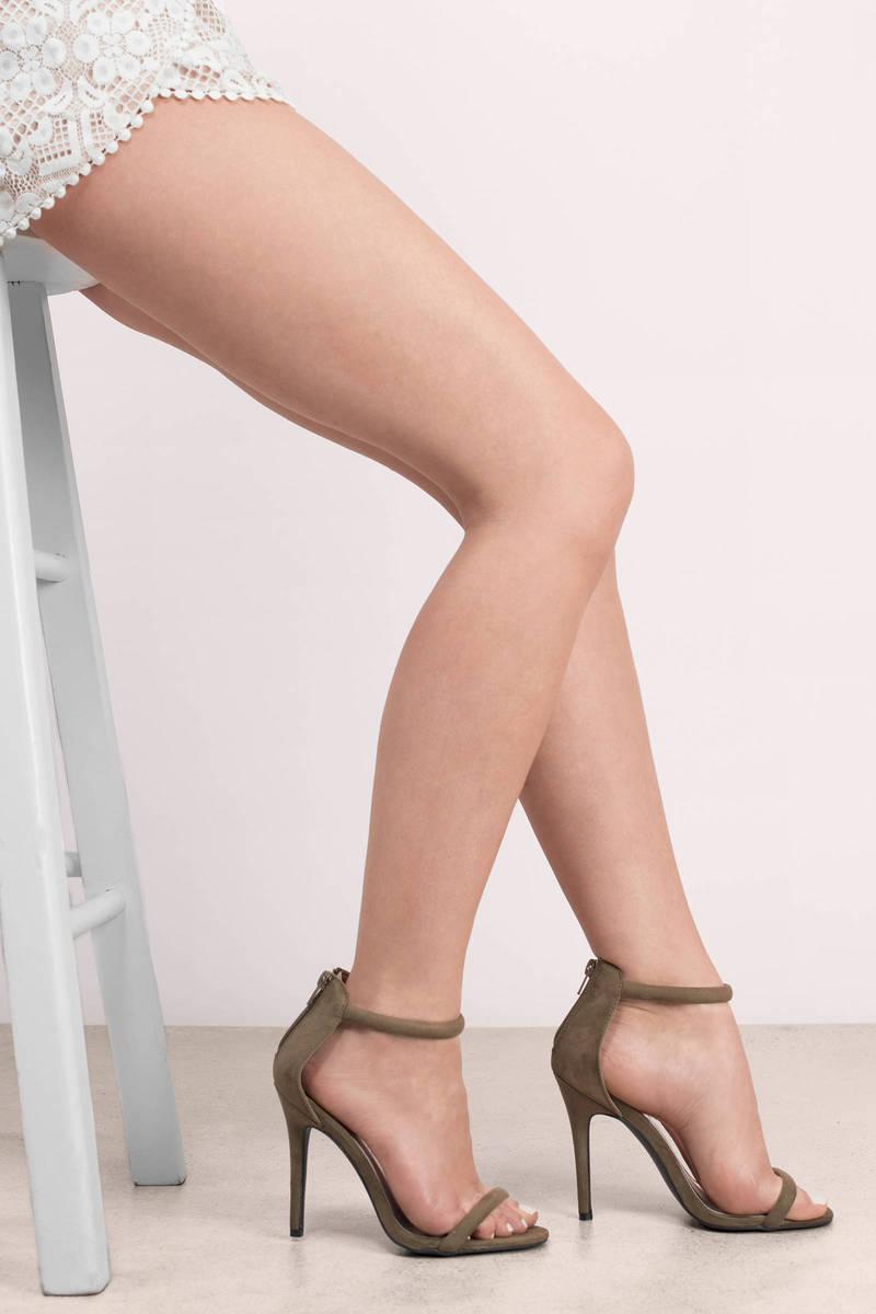 Toe Heels - Khaki Heels - $15   Tobi