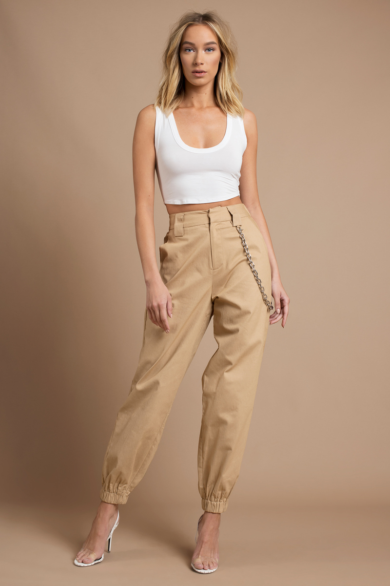 f1b785450cca Beige I.Am.Gia Pants - Loose Khaki Pants - High Waisted Cargo Pants ...