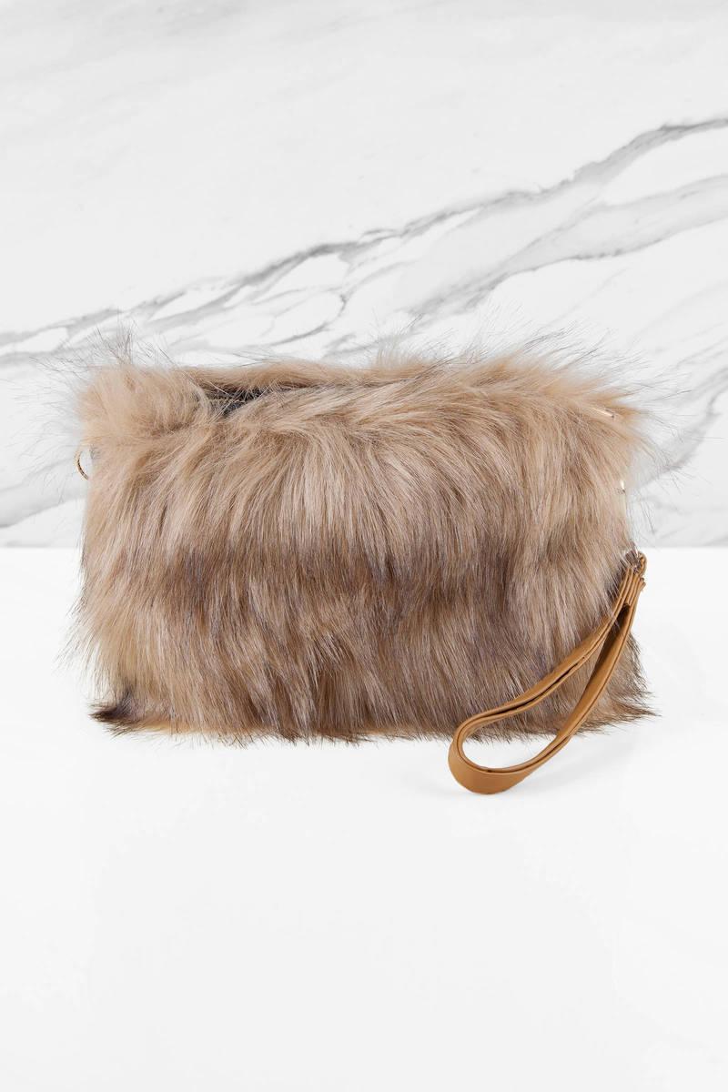 Furry Feelings Khaki Crossbody Bag