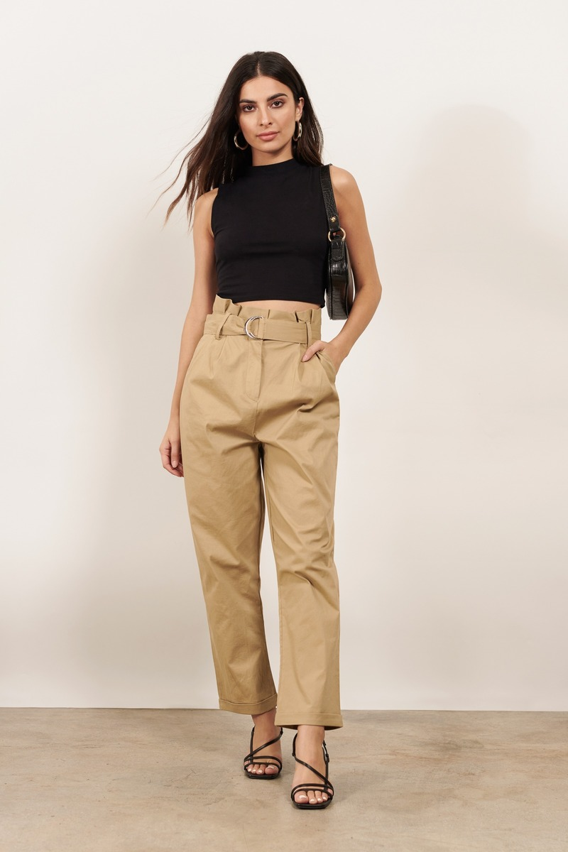 09d45f6701bfed Beige Pants - Khaki Paperbag Pants - Beige High Waisted Pants - C ...