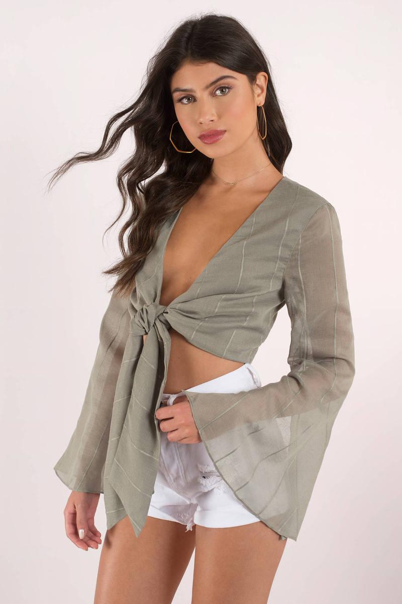 Finders Keepers Finders Keepers Sanctuary Khaki Front Tie Top