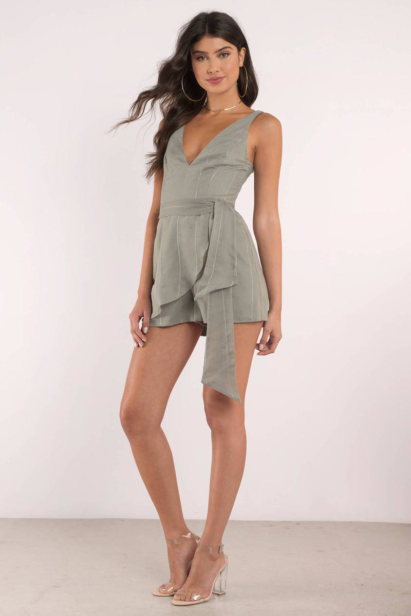 Finders Keepers Finders Keepers Sanctuary Khaki Plunging Front Tie Playsuit
