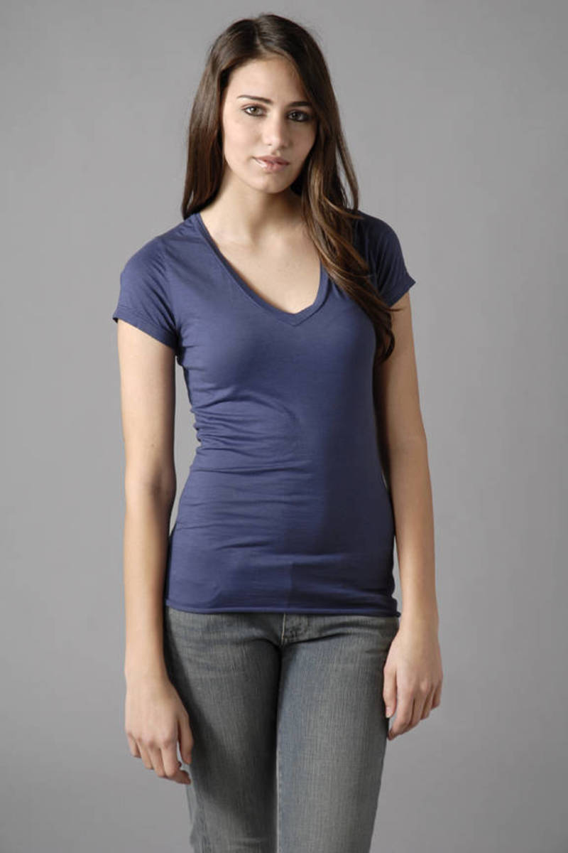 7d9f6384c8f7 Blue Velvet Tee - Simple V Neck Shirt - Blue Short Sleeve Shirt ...