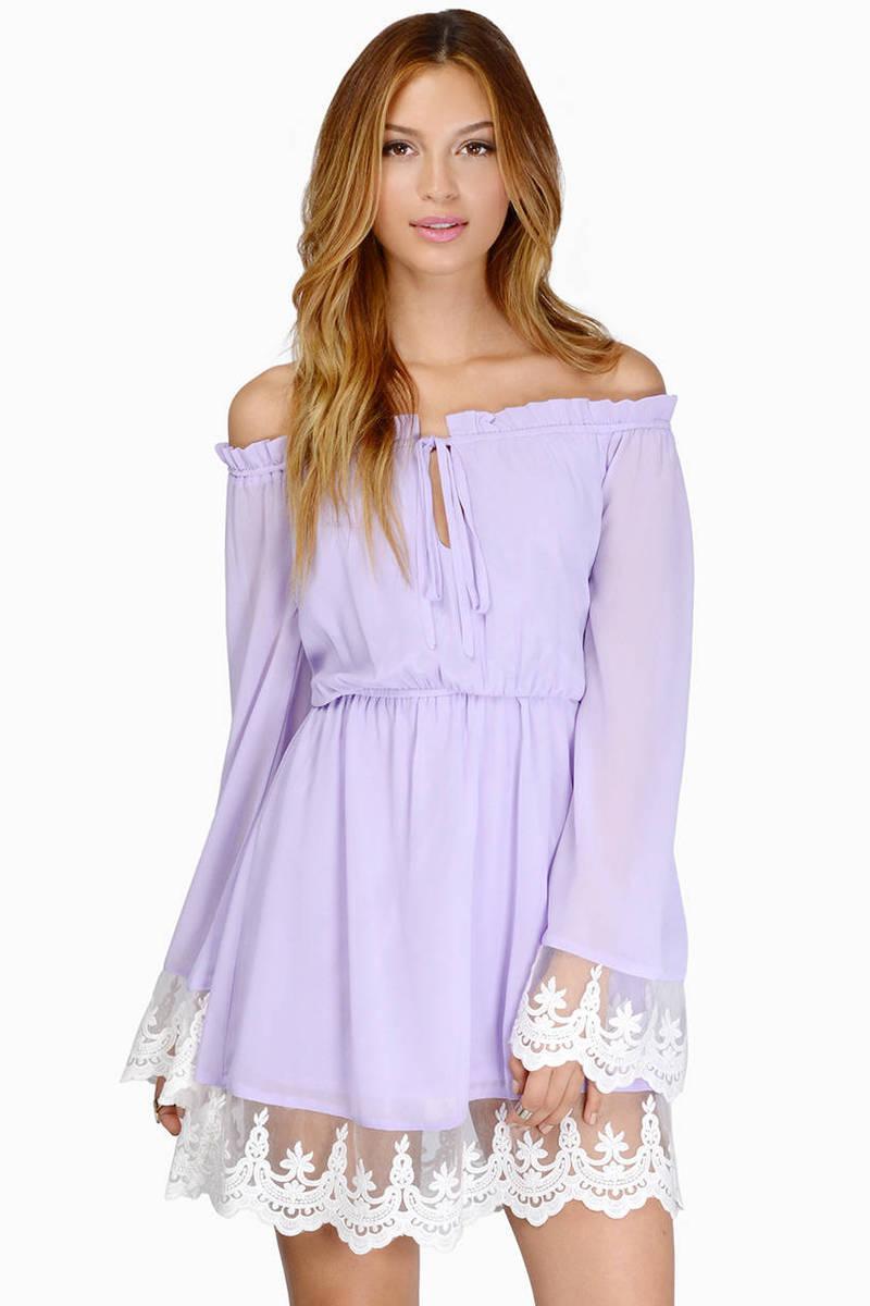 a7efdfd568b6 Lavender Casual Dress - Lace Hem Dress - Lavender Off Shoulder Dress ...