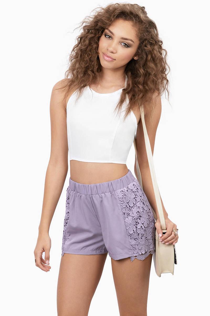 Becca Lavender Lace Floral Shorts