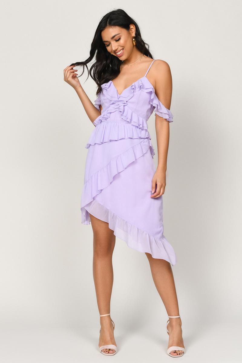 40a3d55a94f9 Lavender Dress - Asymmetrical Midi Dress - Lavender Chiffon Dress ...