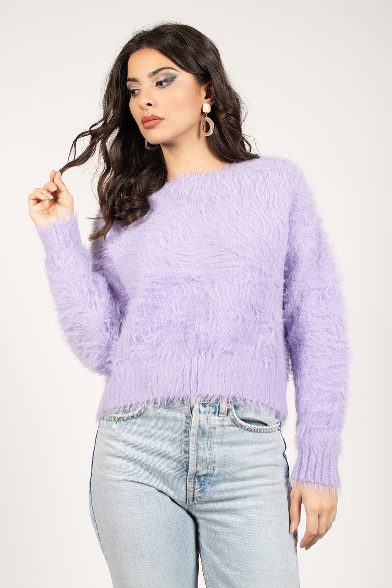 d608106f9c Purple Sweater - Fuzzy Sweater - Purple Long Sleeve Sweater -  39 ...