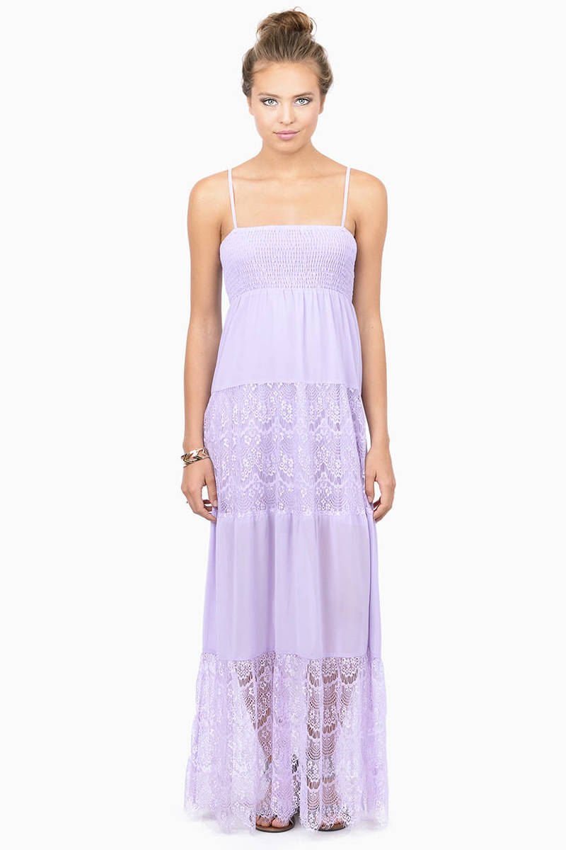 Ethereal Beauty Lavender Sheer Maxi Dress