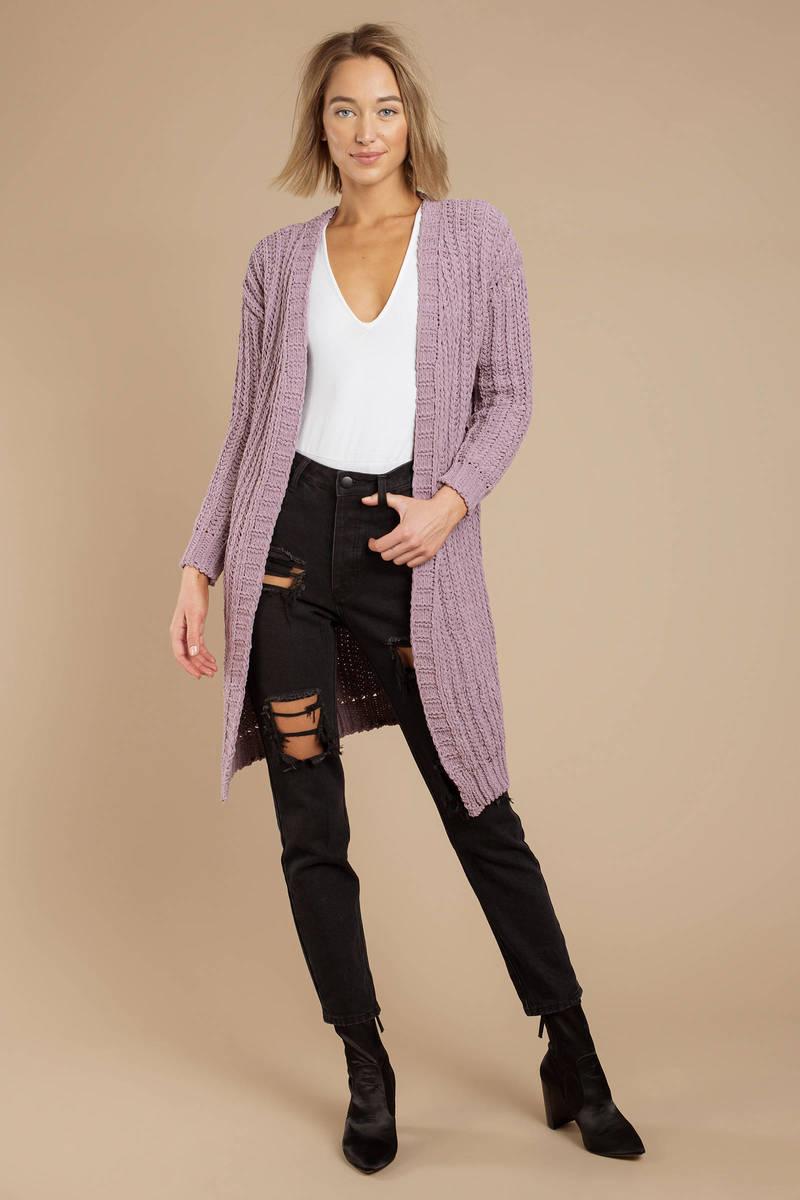 Lavender Cardigan - Cable Knit Cardigan - Lavender Knit Cardigan ... 1e1f21469