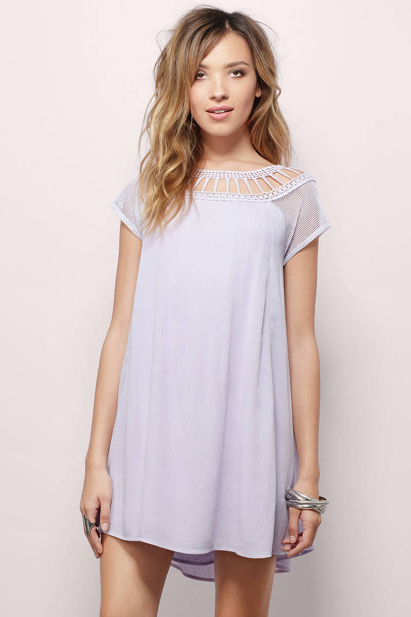 Rhapsody Lavender Short Sleeve Tassel Trim Shift Dress