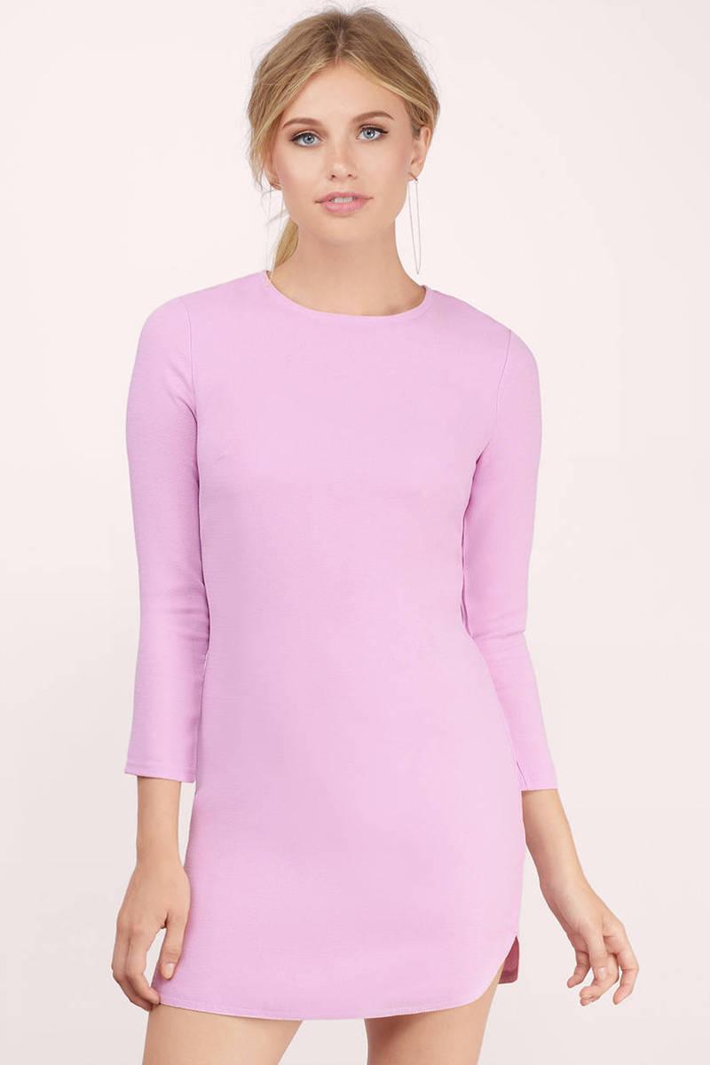 fa76f3521ea0 Lavender Shift Dress - Bodycon Dress - Lavender 3/4 Sleeve Dress ...